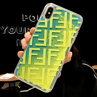 Fendi 2019 new iPhone xs max quick sand shell mobile phone case cover Green