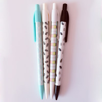L06 4X Simple Plain Leaf Girds Press Mechanical Pencil Writing School Office Supply Student Stationery Automatic Pencil