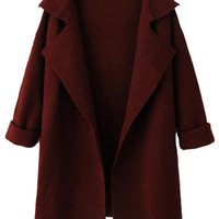 Wine Red Lapel Long Sleeve Knit Coat