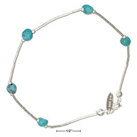 "STERLING SILVER 9"" LIQUID SILVER AND SIMULATED TURQUOISE NUGGET ANKLET"