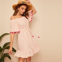Pink Boho Drawstring Waist Pom Pom Detail Stripe Bardot Dress Women Casual Beach Vacation Off Shoulder Mini Dress