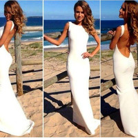 White Sleeveless Backless Bodycon Maxi Dress