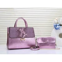 Hermes Newest Popular Women Leather Clutch Bag Handbag Tote Shoulder Bag Set Two Piece Purple