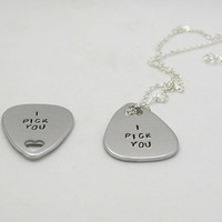 I Pick You - Personalized Guitar Pick - His And Her Gift - Handstamped Guitar Pick - Long Distance Relationship - Guitar Pick Necklace