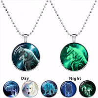 Wolf Cabochon Glass Glow In The Dark Silver Plated Pendant Necklace