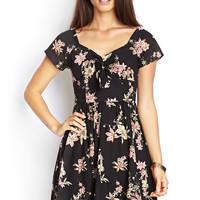 Retro Knotted Floral Dress
