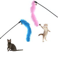 Turkey Feather Wand Stick For Cat Catcher Teaser Toy For Pet Kitten Jumping Train Aid Fun Pink Blue color