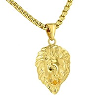 Yellow Gold Lion Head Pendant Chain Set