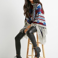 Southwestern-Patterned Poncho Sweater
