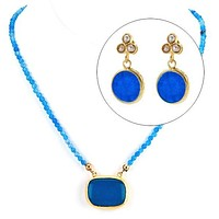 Blue Agate and MOP Jewelry Gift Set