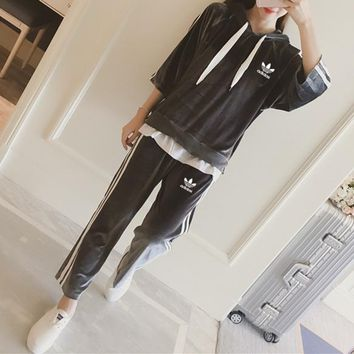 """Adidas"" Women Casual Velvet Stripe Hooded Middle Sleeve Wide Leg Pants Trousers Set Two-Piece Sportswear"
