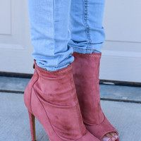 Instant Star Dusty Mauve Peep Toe Booties