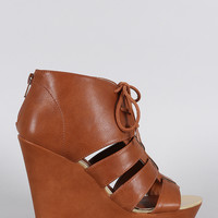 Qupid Strappy Lace Up Platform Wedge