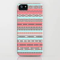 Peach Rose Baby Blue Aztec Tribal Native Pattern iPhone & iPod Case by RexLambo