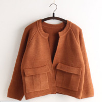 Loose Pocket Knit Solid Color Korean Sweater