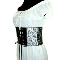 Renaissance Waist Cincher, Leather & Lace Corset, Upcycled Clothing, Faux Leather Corset, Reversible Unboned Corset, Cosplay, SCA, LARP