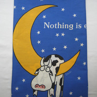 Vintage Sandra Boynton Cow Pillow Case Nothing is Ever Simple Fabric Kids Bedding Gently Used Clean 1989 Martex