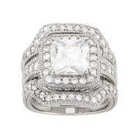 Cubic Zirconia Halo Engagement Ring Set in Sterling Silver (White)