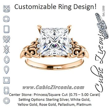 Cubic Zirconia Engagement Ring- The Lark (Customizable 7-stone Princess/Square Cut Design with Vertical Round-Channel Accents)