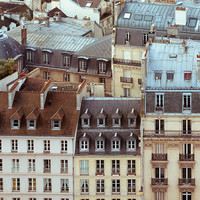 Rooftops of Paris Print, Pastel Art Print, Paris Photography, Aerial View, Cityscape, Pastel Wall Art - Rooftops and Love Songs