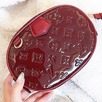 LV Louis Vuitton Fashion new monogram leather shopping leisure round shoulder bag crossbody bag Burgundy