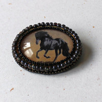 Bead embroidered running horse brooch pin- original horse in desert, earth tones, bronze * horse jewelry * ooak * ready to ship
