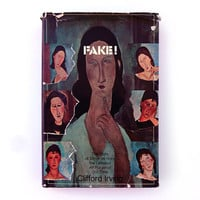 """Milton Glaser book cover design, 1969. """"Fake!"""" by Clifford Irving."""