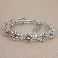 Mp Handmade Ethnic Style Silver Color Beaded Bangle with Feather Pendant Joint- 2 Rows Silver Color Flowers