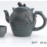 Flowered Teapot and matching tea cups in light gray - Yixing
