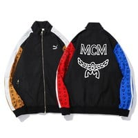 MCM & Puma high quality new fashion embroidery letter pattern splice contrast color long sleeve top coat