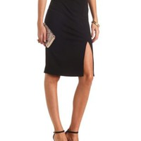 Textured Front Slit Bodycon Midi Skirt by Charlotte Russe