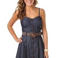 corset style belted chambray denim dress - debshops.com