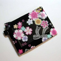 Zipper Fabric Pouch coin - CHERRY BLOSSOMS LACE - Japanese ID clear | Nancym4 - Bags & Purses on ArtFire