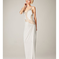 (PRE-ORDER) Mignon Spring 2014 Dresses - Antique Ivory Illusion Cut Out Open Back Prom Dress