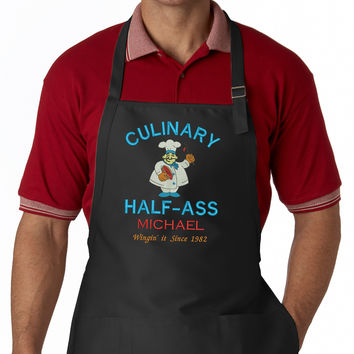 Culinary Half Ass Personalized Chef Embroidered Apron