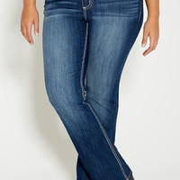 denim flex ™ plus size dark wash slim boots jeans