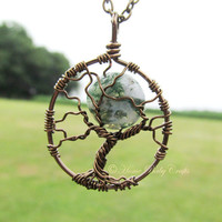 Midwifery Tree of Life- Antique Brass Tree of Life with Moss Agate- MIdwife, Doula, Birth, Labor