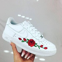 NIKE AIR FORCE 1 AF1 Red Rose White Sneaker