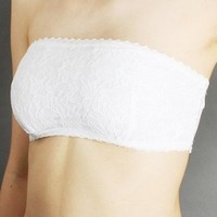 Allover Lace Bandeau Bra Tube Top in 14 Colors. Sizes S-M-L small White