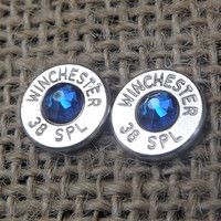 Nickel Plated Silver  38 Special Stud Bullet Earrings With Swarovski Crystal For Guns Lovers, Hunters, Country gals / Bullet jewelry