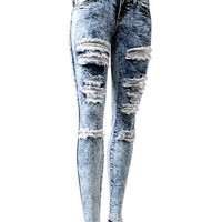 Fashion  slashed acid wash skinny jeans