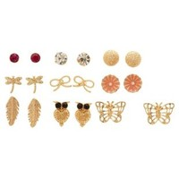 Gold Owl & Butterfly Stud Earrings - 9 Pack by Charlotte Russe