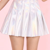 Glitters For Dinner — Made To Order - Pleated Silver Holographic Skirt by GFD