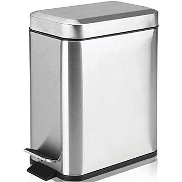 Small Rectangular Trash Can 5L with Anti - Bag Slip Liner and Lid, Use as Mini Garbage Basket