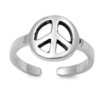 925 Sterling Silver Peace Sign Mid-Finger/ Knuckle / Toe Ring 19MM