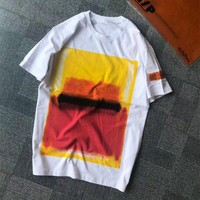 """""""Heron Preston"""" Unisex Casual Personality Gradient Color Pattern Print Letter Embroidery Short Sleeve Couple T-shirt Top Tee"""