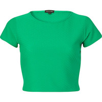 River Island Womens Green cap sleeve crop top