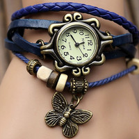 Highend suede bracelet watch, leather wrap watch, retro art bracelet watch GB01a
