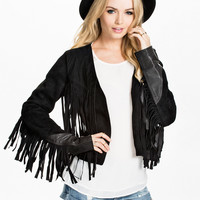 Suede Black Fringe Jacket