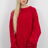 Vintage Red Tribal Knit Solid Sweater